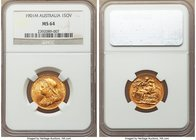 Victoria gold Sovereign 1901-M MS64 NGC, Melbourne mint, KM13. Tied for finest certified for this final year of Victoria's Sovereign, a highly lustrou...