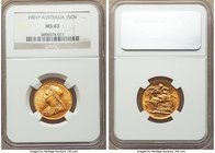Victoria gold Sovereign 1901-P MS63 NGC, Perth mint, KM13. A charming choice Sovereign, its luster primarily of a matte satin appearance yet with spea...