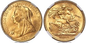 Victoria gold Sovereign 1901-S MS64 NGC, Sydney mint, KM13. Tied for finest certified by either NGC or PCGS, the final year of Victoria's Sovereign. S...