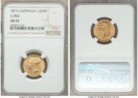 Victoria gold 1/2 Sovereign 1871-S AU53 NGC, Sydney mint, KM5. A scarce early Australian Half Sovereign, not often encountered in Almost Uncirculated....