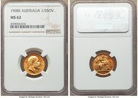 Edward VII gold 1/2 Sovereign 1908-S MS62 NGC, Sydney mint, KM14. A beautiful fractional Sovereign, certainly conservatively graded and with an almost...