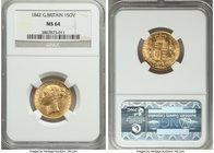 Victoria gold Sovereign 1842 MS64 NGC, KM736.1, S-3852. A captivating canary yellow in color, an unusually well preserved early Sovereign with sublime...