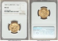 Victoria gold Sovereign 1847 MS62 NGC, KM736.1, S-3852. Some scattered contact marks and surface friction, otherwise near choice with appealing cartwh...
