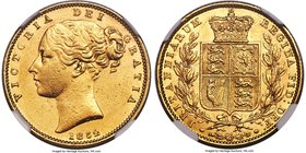 "Victoria gold ""Inverted A"" Sovereign 1852 AU58 NGC, KM736.1, S-3852C. Inverted ""A"" for ""V"" in VICTORIA. Extremely rare, with seemingly no comparable p..."