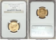 "Victoria gold Sovereign 1853 AU58 NGC, KM736.1. Type with ""W.W."" incuse on truncation. A difficult variety to obtain in higher grades, this example ap..."