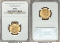 "Victoria gold Sovereign 1854 MS62 NGC, KM736.1, S-3852D. ""W.W."" incuse on truncation. A scarce early year of Victoria's Sovereign, particularly in Min..."