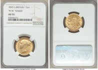 "Victoria gold Sovereign 1855 AU55 NGC, KM736.1, S-3852C. ""W.W."" raised on truncation. Minor handling and a prominent die crack at the end of the obver..."