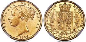 Victoria gold Sovereign 1857 MS63 NGC, KM736.1, S-3852D. A rarer date, ever-popular in Mint State. This representative has been perfectly struck and s...