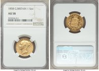 Victoria gold Sovereign 1858 AU58 NGC, KM736.1. Premium for the grade with prooflike reflectivity in recesses and only minor rub to the highpoints. AG...