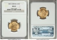 "Victoria gold Sovereign 1860 MS63 NGC, KM736.1, S-3852D. Large ""0"" in date. Boldly and centrally struck, boasting a freshly made appearance with littl..."