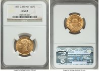 Victoria gold Sovereign 1861 MS62 NGC, KM736.1. Scuffed to Victoria's cheek in line with the grade, otherwise lustrous and pleasing.   HID09801242017