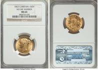 Victoria gold Sovereign 1863 MS64 NGC, KM736.2, S-3852D. Without die number. The obverse of this fabulous piece has a light ring of die cracks running...