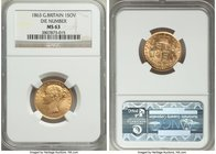 Victoria gold Sovereign 1863 MS63 NGC, KM736.2, S-3853. Variety with die number. Visibly choice for the grade with a faintly visible wipe in the obver...