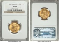 Victoria gold Sovereign 1868 MS64 NGC, KM736.2, S-3853. Tied for finest certified. Some light marks to Victoria's cheek, otherwise a lofty near-gem wi...
