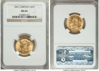 Victoria gold Sovereign 1869 MS64 NGC, KM736.2, S-3853. Near-flawless, boasting a freshly-struck appearance and ultra-sharp details.   HID09801242017