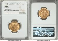 Victoria gold Sovereign 1870 MS62 NGC, KM736.2. One can only assume that this was amongst the final coins struck using this obverse die, as it is plag...