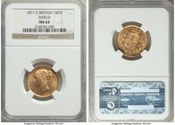 "Victoria gold ""Shield"" Sovereign 1871 MS64 NGC, KM752, S-3856. Bearing the usual die cracks this type often exhibits, an otherwise impeccably produced..."