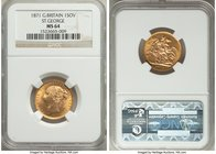 "Victoria gold ""St. George"" Sovereign 1871 MS64 NGC, KM752, S-3856A. A fantastic near-gem, the obverse of a satin texture with a prooflike reflectivity..."