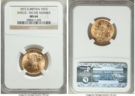 "Victoria gold ""Shield"" Sovereign 1872 MS64 NGC, KM736.1, S-3856A. No die number. Conditionally rare and highly attractive even for its grade. The obve..."