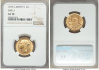 "Victoria gold ""Shield"" Sovereign 1873 AU58 NGC, KM752. Approaching Mint State, with pale luster and only light contact marks. AGW 0.2354 oz.  HID09801..."