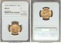 Victoria gold Sovereign 1876 MS63 NGC, KM752, S-3856A. Well-struck and fully choice, with remarkably clear surfaces (besides a light scratch to Victor...