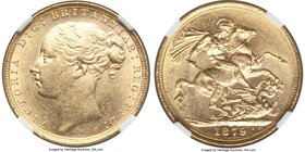 Victoria gold Sovereign 1879 MS61 NGC, KM752, S-3856A, Marsh 90 (R4). Absolutely outstanding; the finest graded example of the key 1879 London Soverei...
