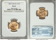 "Victoria gold ""St. George"" Sovereign 1884 MS64 NGC, KM752. Appealing, the obverse ever-so-slightly softly struck, the reverse sharper, the entirety gl..."