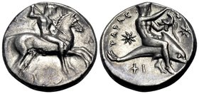 CALABRIA. Tarentum. Circa 333-331/0 BC. Didrachm or nomos (Silver, 20.5 mm, 7.89 g, 10 h), by the ΚΑΛ engraver. Nude rider on horse prancing to right,...