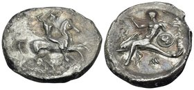 CALABRIA. Tarentum. Circa 302-290 BC. Didrachm or nomos (Silver, 25 mm, 7.65 g, 9 h). Nude, helmeted warrior on horseback right, holding shield and tw...