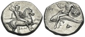 CALABRIA. Tarentum. Circa 302-290 BC. Didrachm or nomos (Silver, 19 mm, 8.01 g, 1 h), under Dai.. and Phi... Nude, helmeted warrior on horseback right...