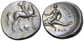 CALABRIA. Tarentum. Circa 302 BC. Didrachm or nomos (Silver, 22.5 mm, 7.94 g, 6 h), Sa... and Kon... Youthful nude jockey crowning himself while ridin...