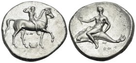 CALABRIA. Tarentum. Circa 302 BC. Stater (Silver, 22 mm, 7.80 g, 10 h), struck under magistrates Sa... and Kon... Youthful nude jockey riding horse wa...