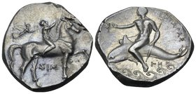 CALABRIA. Tarentum. Circa 290-281 BC. Didrachm or nomos (Silver, 22 mm, 8.04 g, 3 h), Sim... and Her.... Nude ephebe on horse prancing to right, placi...