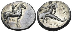 CALABRIA. Tarentum. Circa 302-280 BC. Didrachm or nomos (Silver, 21 mm, 7.91 g, 1 h), struck under magistrate Philiarchos. ΦIΛI-APXOΣ Apparently beard...