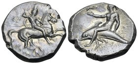CALABRIA. Tarentum. Circa 302-280 BC. Didrachm or nomos (Silver, 21.5 mm, 7.82 g, 3 h), Deinokrates and Si..., c. 280. Nude rider on horse prancing to...
