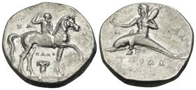 CALABRIA. Tarentum. Circa 280-272 BC. Didrachm or nomos (Silver, 20 mm, 6.47 g, 3 h), Zo.., Zalo.. and Anth... Youthful nude jockey crowning himself w...