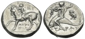CALABRIA. Tarentum. Circa 272-240 BC. Didrachm or nomos (Silver, 18.5 mm, 6.64 g, 10 h), struck under magistrates Lykinos and Sy.... Youthful nude joc...