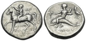CALABRIA. Tarentum. Circa 272-240 BC. Didrachm or nomos (Silver, 20 mm, 6.28 g, 5 h), under magistrate Philotas. Horseman advancing left, crowning hor...