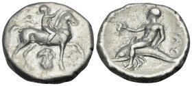 CALABRIA. Tarentum. Circa 272-240 BC. Didrachm or nomos (Silver, 20 mm, 6.29 g, 9 h), Kynon. Nude youth riding horse walking to right, raising his rig...