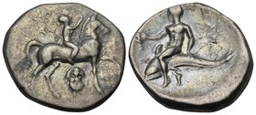 CALABRIA. Tarentum. Circa 272-240 BC. Didrachm or nomos (Silver, 21 mm, 6.27 g, 9 h), Kynon. Nude youth riding horse walking to right, raising his rig...