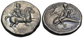 CALABRIA. Tarentum. Circa 272-240 BC. Didrachm or nomos (Silver, 21 mm, 6.36 g, 7 h), Di... and Apollonios. Warrior, wearing a lorica and a crested he...