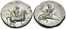 CALABRIA. Tarentum. Circa 272-240 BC. Stater (Silver, 21.5 mm, 6.53 g, 5 h), D(i)... and Apollonios. Warrior, wearing a lorica and a crested helmet, h...