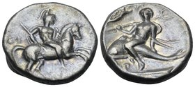 CALABRIA. Tarentum. Circa 272-240 BC. Stater (Silver, 19 mm, 6.32 g, 7 h), Thi... and Aristok. Warrior, on horse galloping to right, wearing a lorica ...