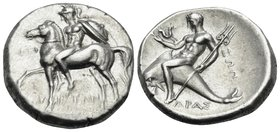 CALABRIA. Tarentum. Circa 270-235. Stater (Silver, 20 mm, 6.58 g, 3 h), struck under magistrates Euph.., Ariston and Zop... EYΦ/ API-ΣTΩN Naked horsem...