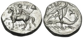 CALABRIA. Tarentum. Circa 240-228 BC. Didrachm or nomos (Silver, 19 mm, 6.39 g, 4 h), struck under magistrate Xenokrates. ΞΕ-ΝΟΚΡΑ/Τ-ΗΣ Armored cavalr...