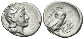 CALABRIA. Tarentum. Circa 240-228 BC. Drachm (Silver, 16.5 mm, 3.14 g, 5 h). Helmeted head of Athena right, helmet decorated with Skylla throwing ston...