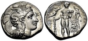 LUCANIA. Herakleia. Circa 330/25-281 BC. Didrachm or nomos (Silver, 20 mm, 7.73 g, 2 h). Head of Athena to right, wearing a pendant earring, a simple ...