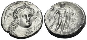 LUCANIA. Herakleia. Circa 281-278 BC. Nomos (Silver, 21 mm, 7.42 g, 6 h), struck under magistrate Leon.... Three-quarter facing head of Athena, turned...