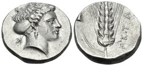 LUCANIA. Metapontum. Circa 400-340 BC. Didrachm or nomos (Silver, 20.5 mm, 7.86 g, 3 h), struck under magistrate K..... Head of Demeter to right, wear...