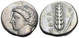 LUCANIA. Metapontum. Circa 400-340 BC. Stater (Silver, 20 mm, 7.71 g, 10 h). Head of Demeter facing to left, her hair bound by a net, wearing a double...